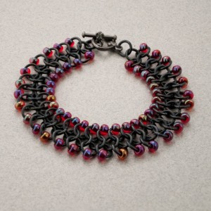 Iridescent Red & Black Beaded Chainmaille Ribbon Bracelet