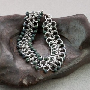 Forest Green & Silver Beaded Chainmaille Ribbon Bracelet