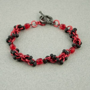 Crystal Spiral - Black & Red Beaded Chainmaille Bracelet