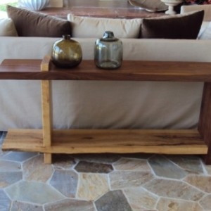 Walnut and Maple Sofa Table