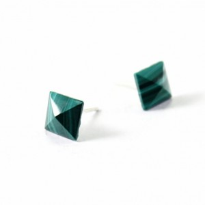 Sterling silver stud earrings, malachite spikes green studs stone earrings gemstone jewelry, posts