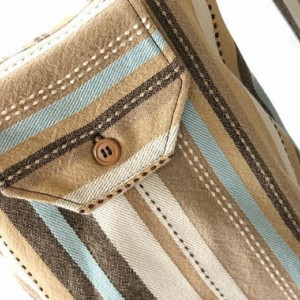 Striped Gift Bags Reusable (Set of 2) Brown Cream Blue Tan Upcycled Cotton