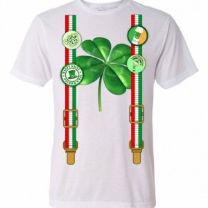 St Patrick's Day Shirt with suspenders, Irish buttons and clover