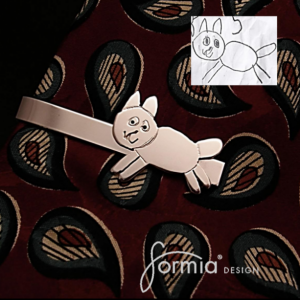 Silver tie clip using your own child's artwork