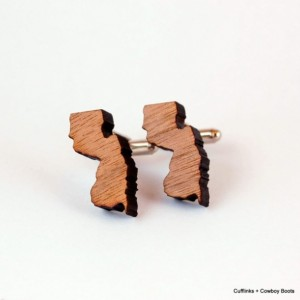 Laser Cut Walnut Cufflinks - State of New Jersey