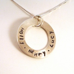 Sterling Silver Washer Personalized Mothers Necklace