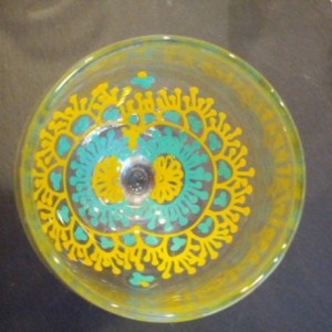 Hand painted Henna Wine Glass Decor Turquoise Blue Yellow FREE SHIPPING
