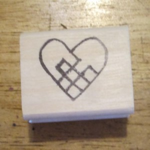 Woven Heart Scandinavian rubber stamp artist signed outline you color it in