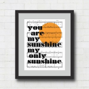 You Are My Sunshine Typographic Print - 8x10