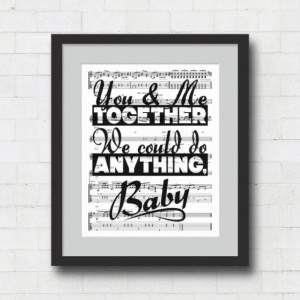 "Dave Matthews Band : You & Me Together We Could Do Anything, Baby - 8x10"" Typography Song Lyrics on Sheet Music Wall Art Print - You and Me"