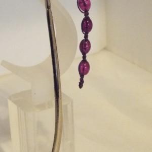 Purple Crackle Glass Bead  Macrame Bookmark