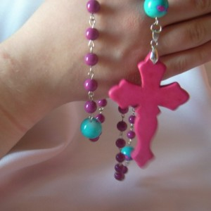 Color Pop Fucshia and Turquoise Rosary Beads
