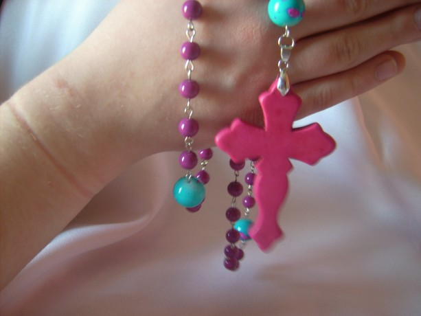 Ladies Rosary Beads - Color Pop Fucshia and Turquoise