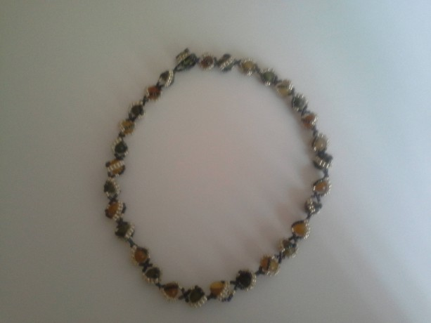 Green Unakite Jasper and Yellow Agate Gemstone Necklace - Unisex