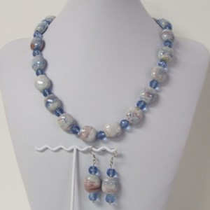 Blue Purple and White Swirl Ceramic Beads and Light Blue Faceted Bead Necklace and Earrings