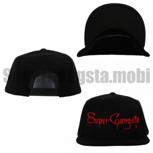 Super Gangsta Snap Back Baseball Hat - Black & Red
