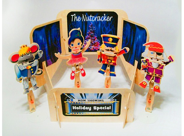 Christmas wooden puppets and theater - Nutcracker theme
