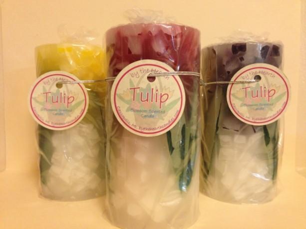 Set of 3 Tulip Pillar Candles