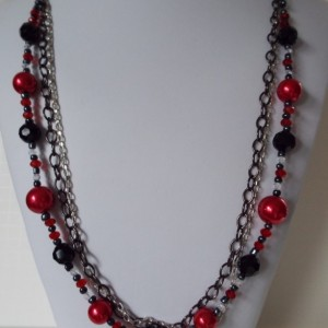 3 Strand Chain, Red, Black and Clear Beaded Necklace