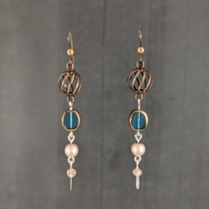 The Gwen | handmade bead dangle earrings, niobium ear wires, teal glass beads, cage beads, rose gold hematite, Gifts for Her