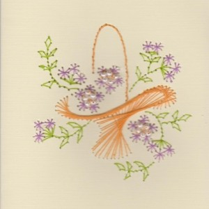 SET OF EMBROIDERED FLOWER BASKET CARDS