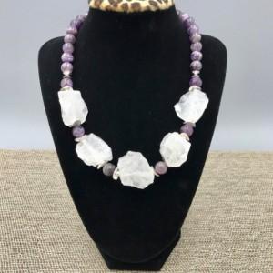 Purple Amethyst Statement Necklace, Purple Chunky Necklace, Rock Amethyst Necklace, Chunky Stone Choker, Stone Necklace, Statement Necklace