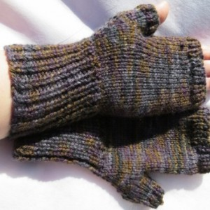brown, black, purple muted, fingerless gloves