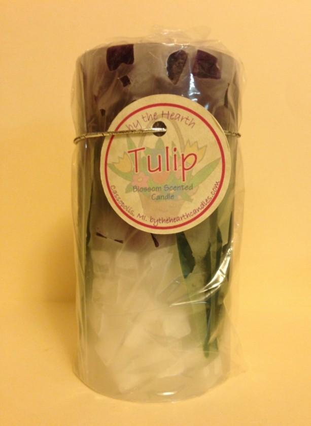 Purple Tulip Pillar Candle