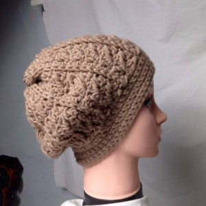 Slouchy crochet rustic hat light brown