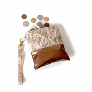 Leather Wallet Vegan Wristlet Coin Card Case Zipper Pouch - Copper and Golden Wheat