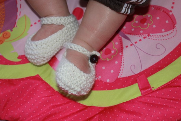 Knit mary jane baby booties