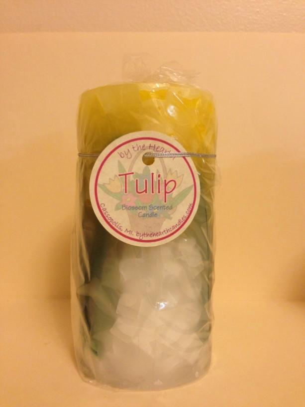 Yellow Tulip Pillar Candle