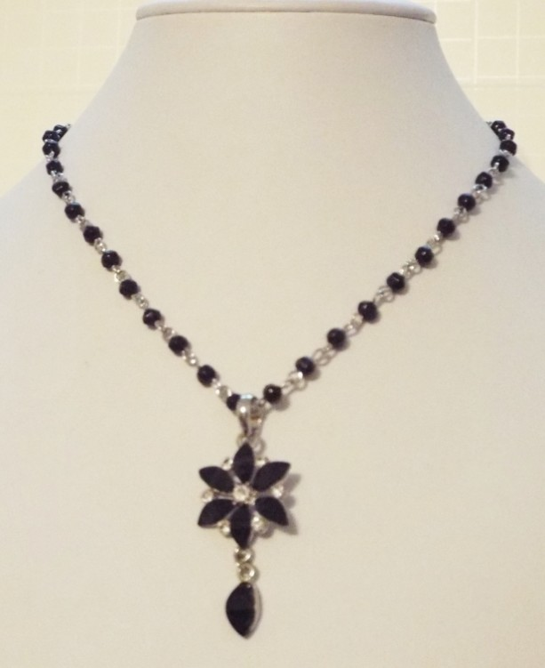 Black Beaded Chain and Black and Crystal Flower Focal Necklace