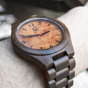 Unique Engraved Mens Dark Round Wooden Watch