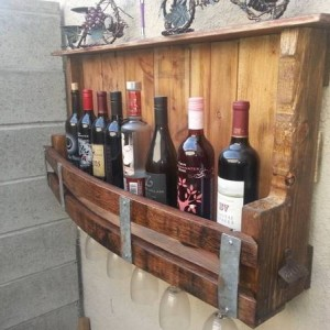 Wall mounted wine bottle rack, wine barrel wine rack, glass holder