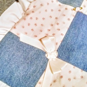 Baby Girls Denim Pink Floral Patchwork Crib Blanket Set