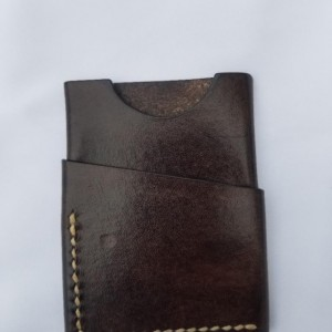 Leather Card Wallet Chocolate brown with cream colored thread