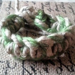 Thick Green Charcoal Yarn Hemp Macrame Bracelet