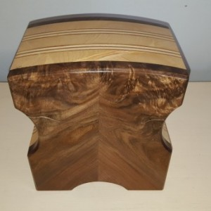 Jewelry box made from book matched claro walnut, pine,and plywood