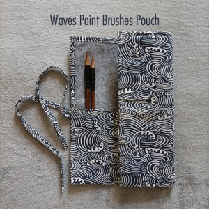 Waves Paint Brushes Pouch - Watercolor Brushes Wraps | Red Artist Roll | Brushes Holder | Brush Roll | Gift for Painters | Brushes Case