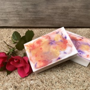 2 Bars of Goat's Milk Mica Swirl Rose Scented Soap