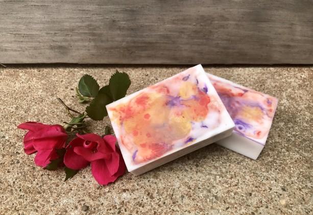 2 Bars of Goat's Milk Mica Swirl Rose Scented Soap