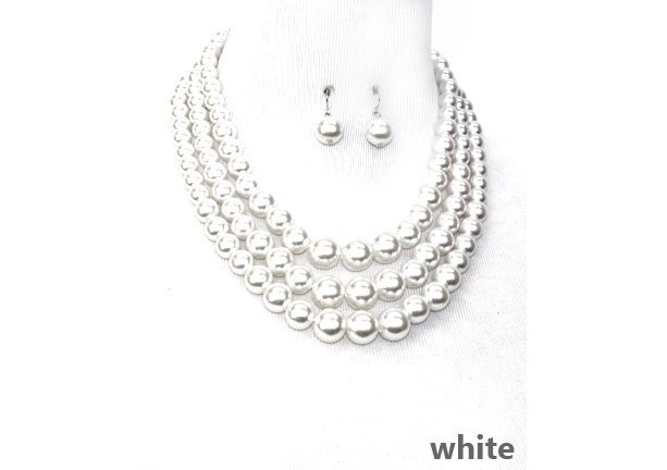 White Pearl Multi strand Necklace Set