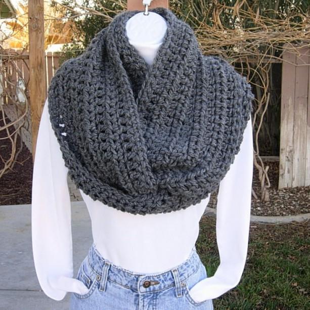 Charisma Yarn Baby Blanket: Large Wide Gray Grey Soft Winter Infinity Scarf, Crochet