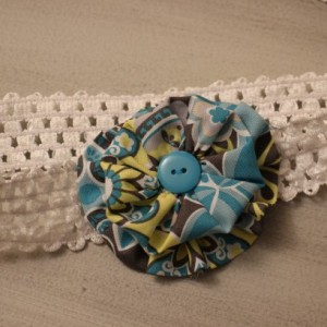 ~ SET OF TWO ~ 3 months - 2 years Headband with tulle flower, 6 months to pre-teen headband with fabric flower