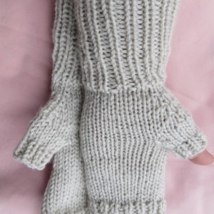 fingerless gloves, braid, medium, light gray,