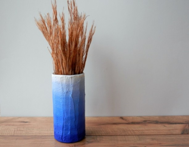 Blue Ombre Vase / Blue home decor / blue flower vase / cylinder vase