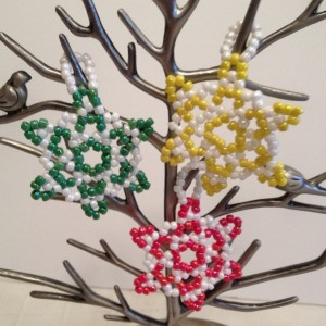 3 Snowflake Christmas Ornaments, White and Red, Green, or Yellow Handmade Christmas Ornaments, Christmas Decoration, Beaded Ornament