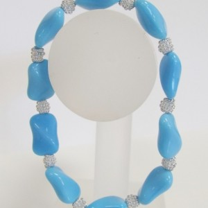 Light Blue Twisted Rectangle Glass Bead and Silver Bead Elastic Bracelet