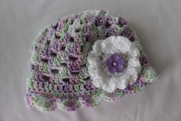 Newborn Girl Summer Sun hat with flower